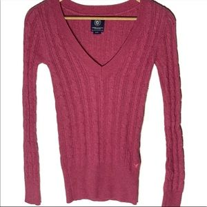 American Eagle V-Neck Cable Knit Sweater Sz S